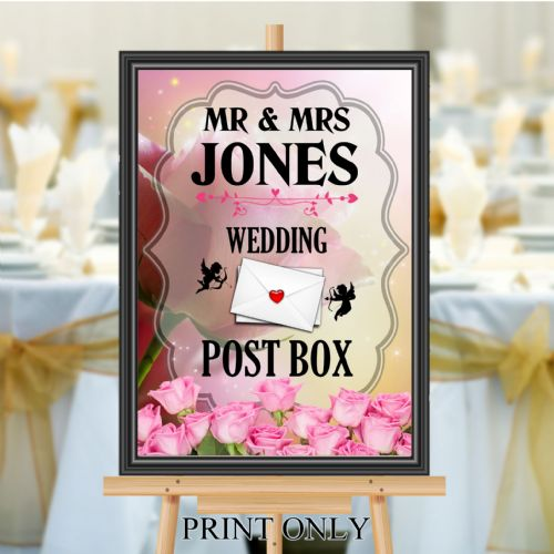 Personalised Wedding Money & Cards Post Box Sign Poster Banner - Print N196